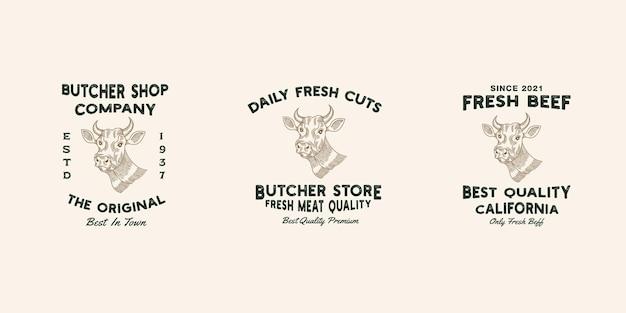 Vecteur de modèle premium de conception de logo de magasin de boeuf, boucherie, magasin de viande, ferme de vache