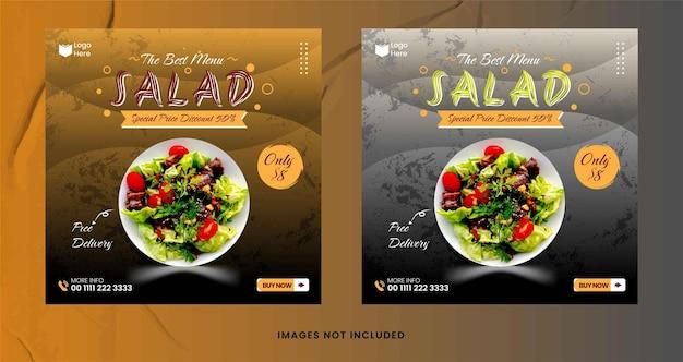 Vecteur de modèle de publication instagram de médias sociaux de salade de nourriture bio
