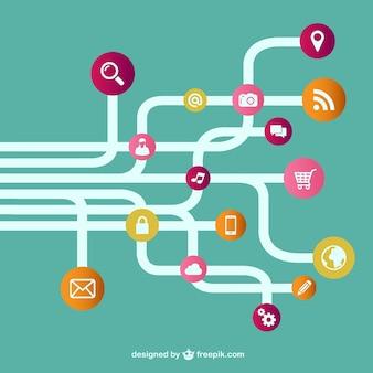 Vecteur modèle de réseau en ligne