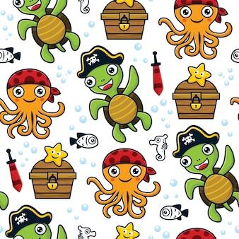 Vecteur de modèle sans couture d'animaux marins en costumes de pirates avec élément de pirates