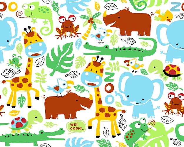 Vecteur de modèle sans couture avec des animaux de safari drôles
