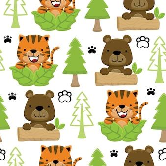 Vecteur de modèle sans couture de chat avec dessin animé ours jouant à cache-cache dans la jungle