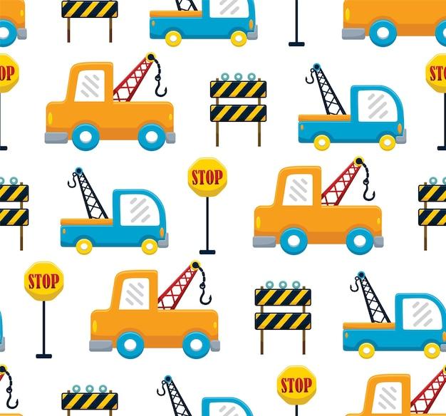 Vecteur de modèle sans couture de dessin animé de camion d'orteil avec des panneaux de signalisation