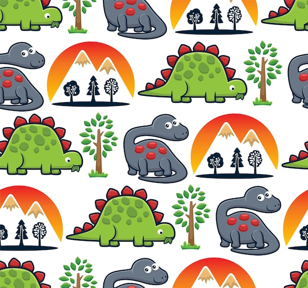 Vecteur de modèle sans couture de dessin animé de dinosaures avec des arbres et des volcans