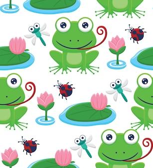 Vecteur de modèle sans couture de dessin animé de grenouille et d'insectes avec la fleur de lotus dans le marais
