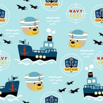 Vecteur de modèle sans couture avec dessin animé de la marine. gunboat, insigne de logo, tête de marin drôle.