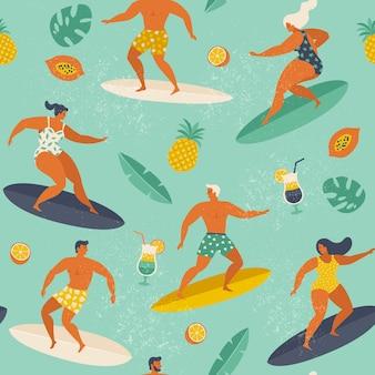 Vecteur de modèle sans couture d'été plage surf.