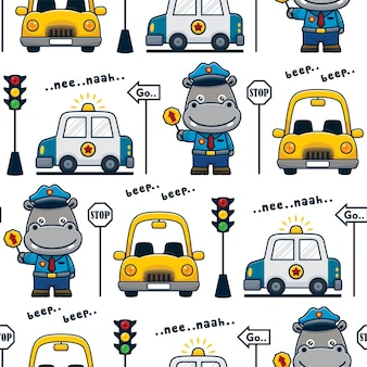 Vecteur de modèle sans couture d'hippopotame souriant en uniforme de policier avec des voitures et des panneaux de signalisation