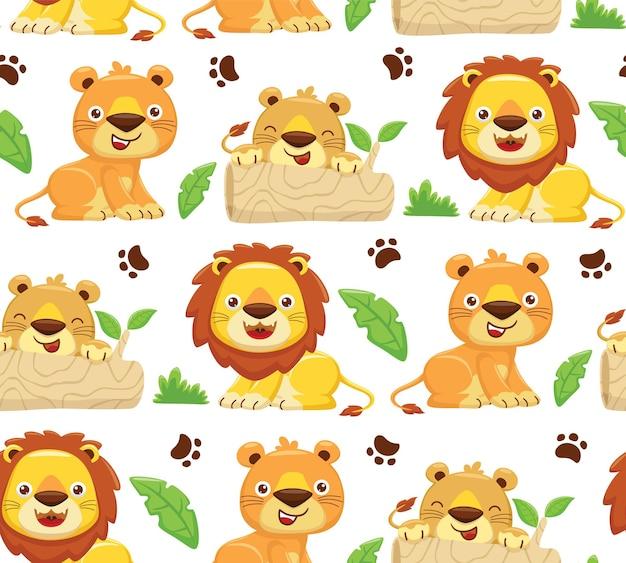 Vecteur de modèle sans couture d'illustration de dessin animé de famille lion