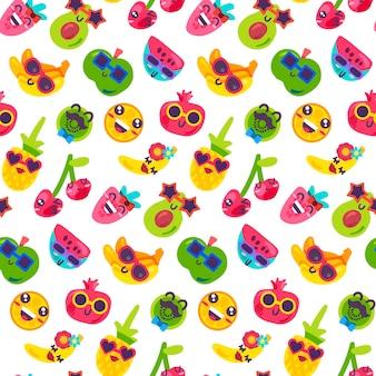 Vecteur de modèle sans couture de nourriture de partie de vitamine de fruit. fraise et pomme souriantes, banane et avocat, agrumes orange et ananas, cerise et kiwi, pastèque et grenat portant des lunettes de soleil illustration