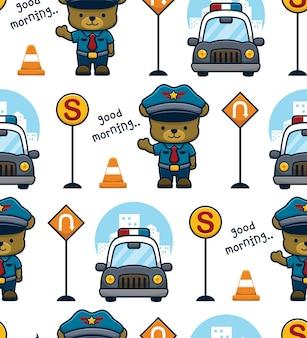 Vecteur de modèle sans couture d'ours drôle en uniforme de policier avec voiture de patrouille et panneaux de signalisation