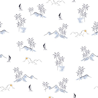 Vecteur de modèle sans couture tropicale de l'île été dessinés à la main
