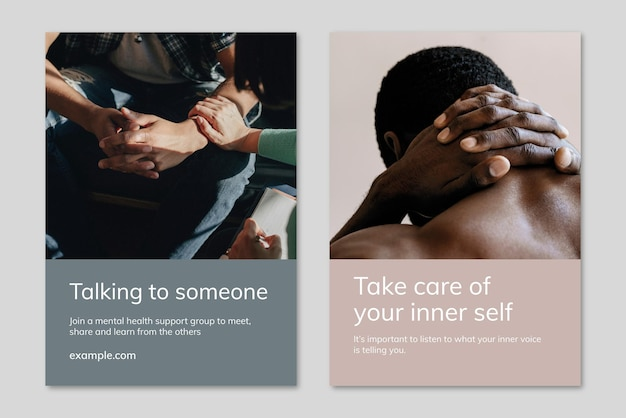 Vecteur de modèle de sensibilisation à la santé mentale pour les groupes de soutien, double ensemble d'affiches publicitaires