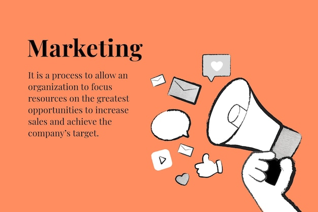 Vecteur de modèle de stratégie marketing modifiable avec mégaphone sur bannière orange