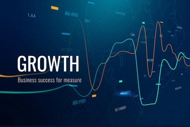 Vecteur de modèle de technologie de croissance d'entreprise dans le ton bleu foncé