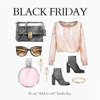 Vecteur de modèle de vente black friday pour la publication sur les réseaux sociaux