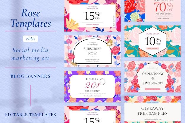 Vecteur de modèle de vente floral féminin avec ensemble de bannières publicitaires de mode roses colorées