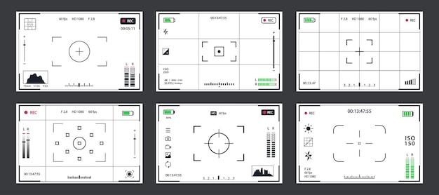 Vecteur de modèle de viseur défini un cadre d'enregistrement pour appareil photo isolé sur fond noir caméra de nuit