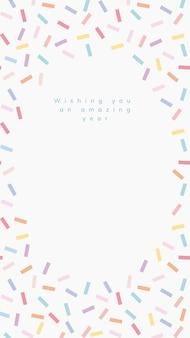 Vecteur de modèle de voeux d'anniversaire en ligne avec cadre saupoudré de confettis