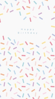 Vecteur de modèle de voeux d'anniversaire en ligne avec fond saupoudré de confettis