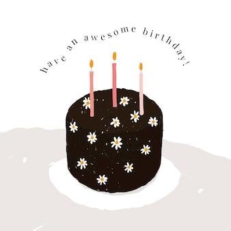 Vecteur de modèle de voeux d'anniversaire en ligne avec illustration de gâteau mignon