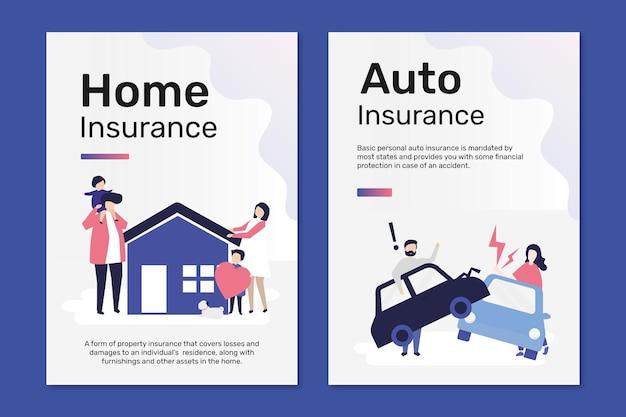 Vecteur de modèles d'affiches pour l'assurance habitation et automobile