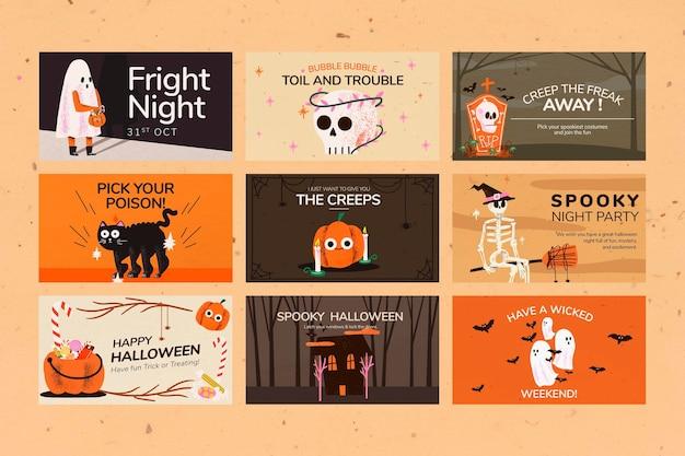 Vecteur de modèles de bannière, jeu d'illustrations halloween mignon
