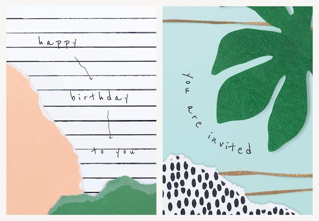 Vecteur de modèles de collage de papier esthétique pour carte d'invitation