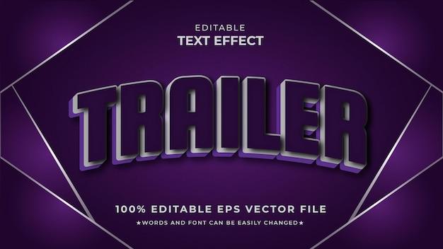Vecteur modifiable d'effet de texte de style de film de bande-annonce