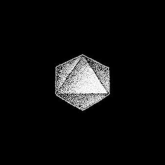 Vecteur monochrome blanc rétro dot art dessiné à la main octaèdre géométrique volumétrique blackwork élément de conception vintage tatouage style décoration isolé forme illustration fond noir