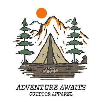 Vecteur de montagne de tente de camping dessiné à la main