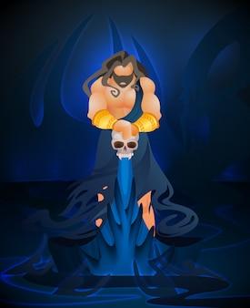 Vecteur mort plat dieu mythologie grecque antique.