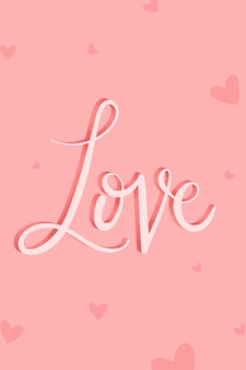 Vecteur de mot calligraphie amour rose