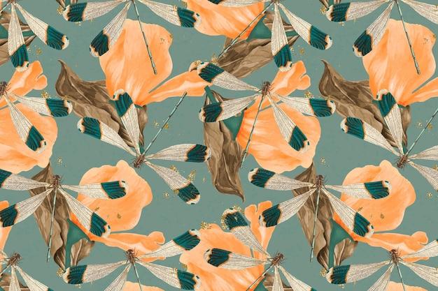 Vecteur de motif abstrait libellule et feuille, remix vintage de the naturalist's miscellany par george shaw