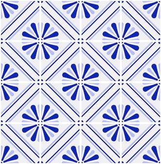 Vecteur de motif de carreaux bleu et blanc