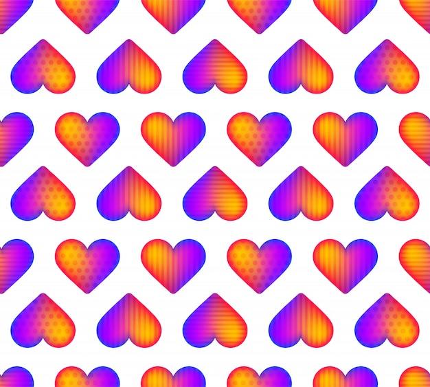 Vecteur de motif coeur réaliste arc-en-ciel sans soudure. une belle idée pour une carte de voeux romantique