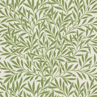 Vecteur de motif de feuilles de saule vert