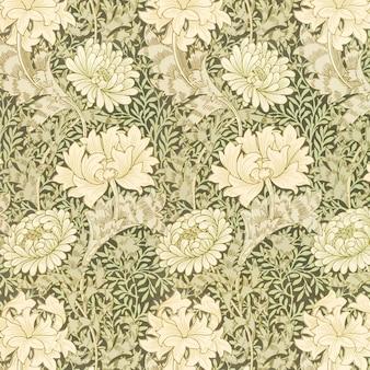 Vecteur de motif de fleur de chrysanthème vintage