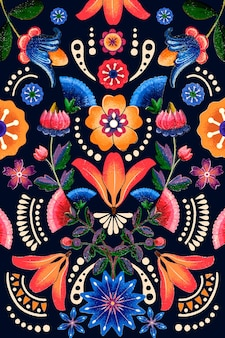 Vecteur de motif de fleur ethnique mexicain