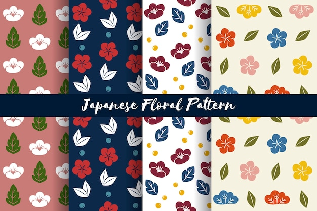 Vecteur de motif floral de style japonais sans soudure