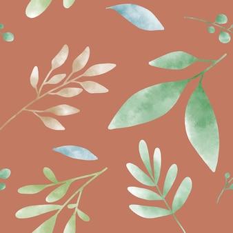 Vecteur de motifs aquarelle feuille verte