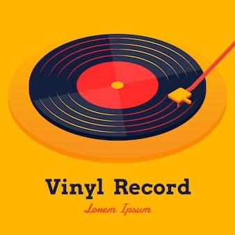 Vecteur de musique disque vinyle isométrique