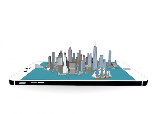 Vecteur de new york sur le téléphone 3d