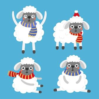 Vecteur de noël mignon moutons cartoon.