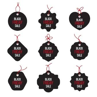 Vecteur noir vendredi ventes tag et bannières vector set.