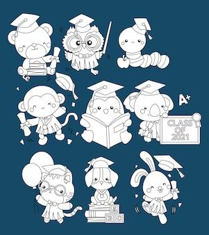 Vecteur de nombreuses mascottes animales diplômées en couleur noir et blanc