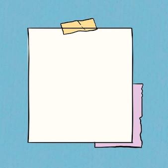 Vecteur de note autocollant sur fond bleu pastel