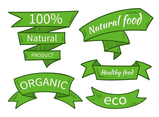 Vecteur de nourriture naturelle, eco, modèles de produits biologiques, insignes, étiquettes. rubans dessinés à la main. illustration vectorielle rubans pour produit naturel biologique