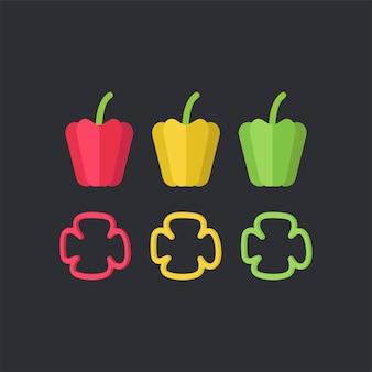 Vecteur de nourriture de poivrons colorés
