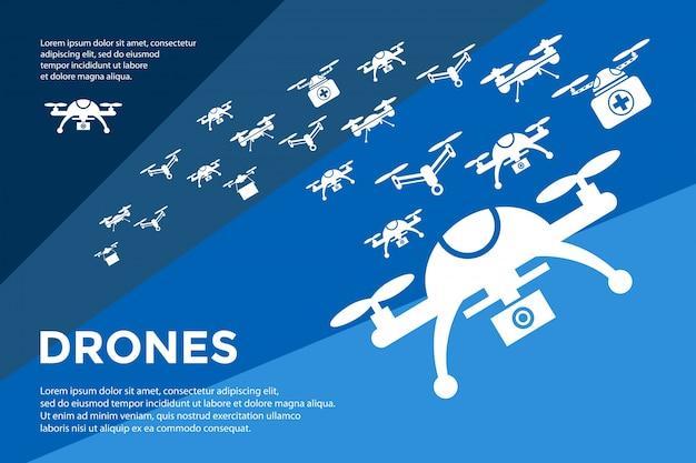 Vecteur numérique battant drone objets jeu d'icônes collection